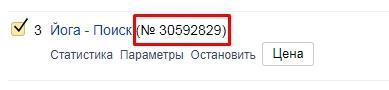 Номер рекламной кампании в Яндекс.Директ