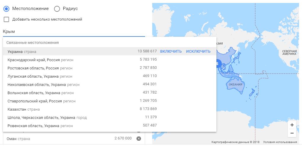 Крым в настройках геотаргетинга