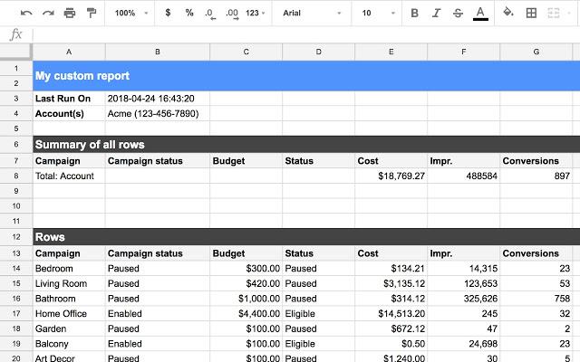 Google AdWords и Google Таблицы