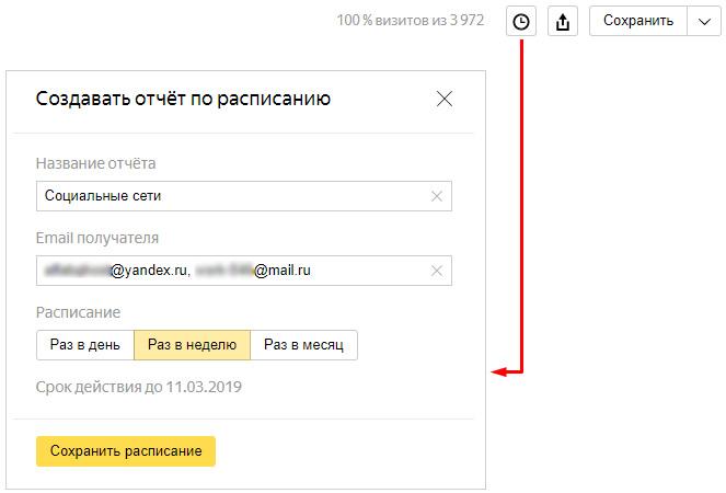 Создание отчета по расписанию Яндекс