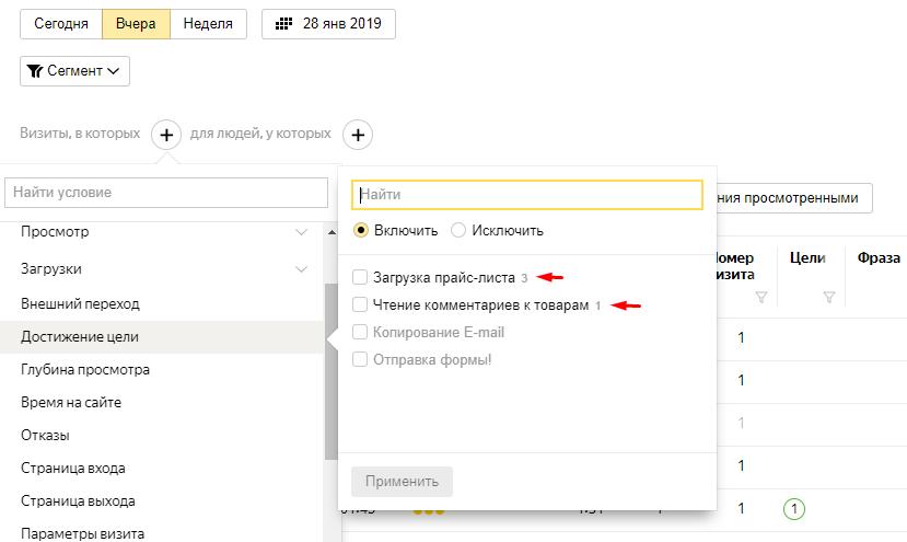Настройки сегмента в Вебвизоре